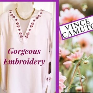 Pink Top VINCE CAMUTO Shell Pink Embroidered  NWT